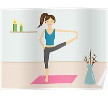 Cute Girl Doing Yoga In A Decorated Room Poster