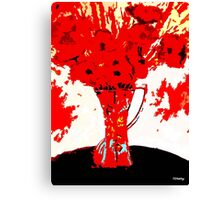 RED FLOWERS AND VASE Canvas Print