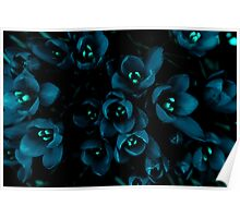 Glow in the night flowers Poster