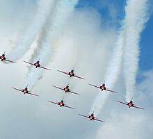 Red Arrows at Cosford 5 by Len Slack