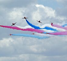 Red Arrows at Cosford 6 by Len Slack
