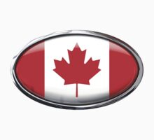 Canada Flag 3D Effect Glass Oval by ukedward