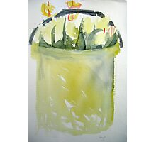 Yellow tulips in a yellow bucket Photographic Print