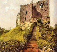 A digital painting of  The Keep, Arundel Castle, West Sussex, England 19th century by Dennis Melling
