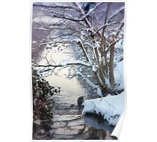 Heron Winter Scene Poster