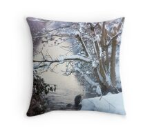 Heron Winter Scene Throw Pillow