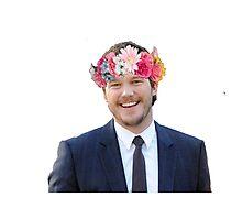 Chris Pratt with a flower crown Photographic Print