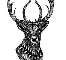 Deer stag black and white ornate illustration by GinjaNinja1801