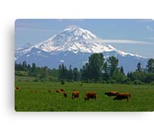 Country scene near Mt. Rainier  Canvas Print