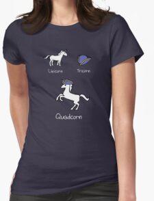 Unicorn + Tricorn = Quadcorn (white design) Womens Fitted T-Shirt