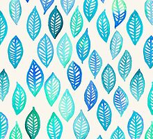 Watercolor Leaf Pattern in Blue & Turquoise by micklyn