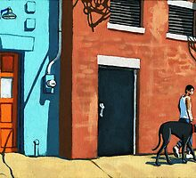 Woman Walking Dog on City Street by LindaAppleArt