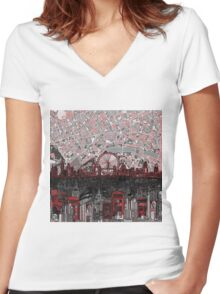 London skyline abstract 4 Women's Fitted V-Neck T-Shirt