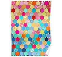 Patterned Honeycomb Patchwork in Jewel Colors Poster