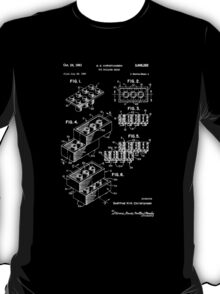 Lego Patent Of Brick 2X4 In White Font T-Shirt