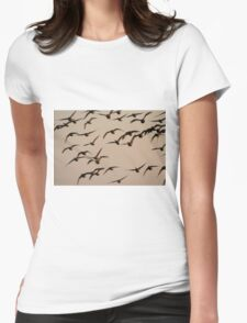 Brent geese at sunrise Womens Fitted T-Shirt