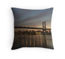 New York Night-time Skyline Throw Pillow