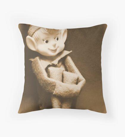 Vintage Christmas Elf Throw Pillow