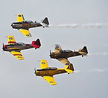 Harvard Bombers in Formation against white cloud by JohnKarmouche