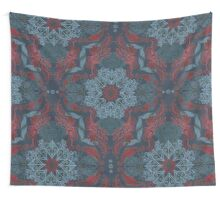 Vintage Fancy - a Pattern in Deep Teal & Red Wall Tapestry