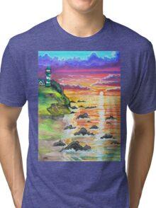 rocky beach sunrise Tri-blend T-Shirt