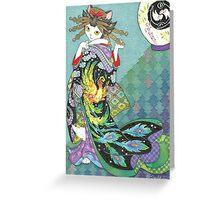 Phoenix Uchikake Kimono Kitty Greeting Card