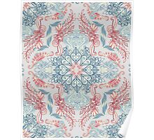 Vintage Fancy - a Pattern in Pale Blue, Navy & Deep Rose Poster