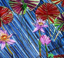 C o l o u r s of Blooms in the Cool Bluish Pond by Nira Dabush