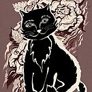 Black cat on texture paper. Card  in the vintage style by Svetlana Mikhalevich