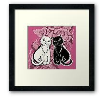 Black cat on texture paper. Card  in the vintage style. Framed Print