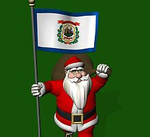 Santa Claus With Flag Of West Virginia by Mythos57