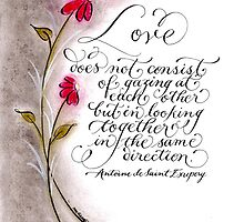 Same direction Love quote calligraphy art by Melissa Goza