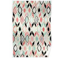 Patchwork Pattern in Coral, Mint, Black & White Poster