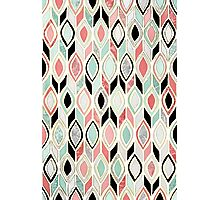 Patchwork Pattern in Coral, Mint, Black & White Photographic Print