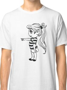 Cute Little Girl Pointing Classic T-Shirt