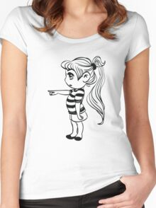 Cute Little Girl Pointing Women's Fitted Scoop T-Shirt