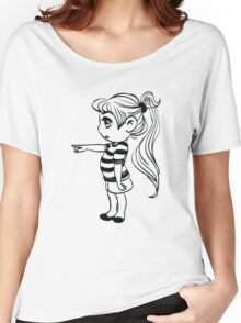 Cute Little Girl Pointing Women's Relaxed Fit T-Shirt
