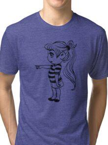 Cute Little Girl Pointing Tri-blend T-Shirt
