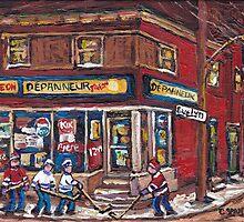 HOCKEY NIGHT IN CANADA VERDUN MONTREAL DEPANNEUR PIGEON MONTREAL NIGHT SCENE HOCKEY GAME by Carole  Spandau