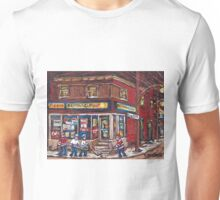 HOCKEY NIGHT IN CANADA VERDUN MONTREAL DEPANNEUR PIGEON MONTREAL NIGHT SCENE HOCKEY GAME Unisex T-Shirt