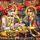Radha Krishna. Bhojan lila (detail) by Vrindavan Das