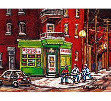 NIGHT SCENE STREET HOCKEY GAME MONTREAL BOYS PALYING NEAR DEPANNEUR VAUTOUR  Photographic Print