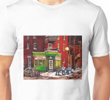 NIGHT SCENE STREET HOCKEY GAME MONTREAL BOYS PALYING NEAR DEPANNEUR VAUTOUR  Unisex T-Shirt
