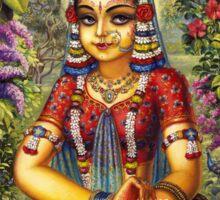 Shrimati Radhika picking flowers Sticker