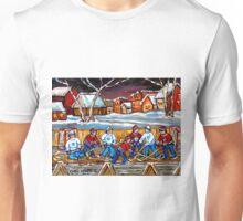 BEST HOCKEY ART OUTDOOR HOCKEY GAME BOYS PLAYING HOCKEY Unisex T-Shirt