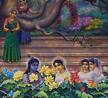 Radha and Krishna in Radha kunda by Vrindavan Das