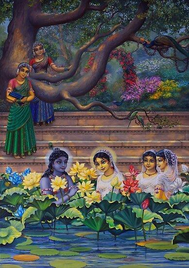 Radha and Krishna in Radha kunda by Vrindavan Das