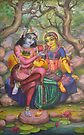 Radha and Krishna on Govardhan by Vrindavan Das