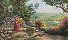 Radha and Krishna on Govardhan hill by Vrindavan Das