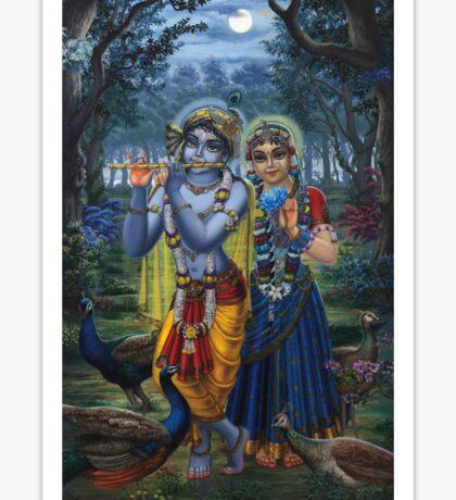 Radha and Krishna on full moon Sticker